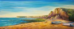 ARTFINDER: The Beach at Yport, Normandy by Maureen Greenwood - Original painting in acrylic painted on deep edge canvas with painted sides and ready to hang.  Please note `in situ` images are not to scale.  A certificate...