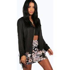 Boohoo Lottie Floral Mini Skirt ($6) ❤ liked on Polyvore featuring skirts, mini skirts, black, pleated midi skirt, short skirts, black floral skirt, pleated skirt and black skirt