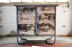 Unique 1930s Vintage Industrial Metal Chest Of Drawers Cabinet With Zinc Top by Dean Bros. Nottingham Beautiful Patina and Character