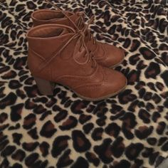 Brown Modcloth booties These run small! Hence why I'm giving these beauties up  They are actually size 8, but fit like a 7.5, so I listed them as such. never worn but to try on! These are super awesome shoes. ModCloth Shoes Ankle Boots & Booties