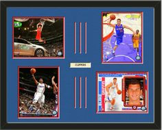 Four framed 8 x 10 inch Los Angeles Clippers photos of Blake Griffin with a customizable nameplate*, double matted in team colors to 28 x 22 inches.  The lines show the bottom mat color.  $159.99  @ ArtandMore.com