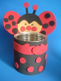 Kids Crafts, Tin Can Crafts, Rock Crafts, Diy Arts And Crafts, Preschool Crafts, Handmade Crafts, Paper Crafts, Painted Tin Cans, Insect Crafts