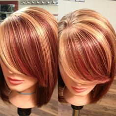 Add the blonde highlights in summer. Two toned red in winter and fall.