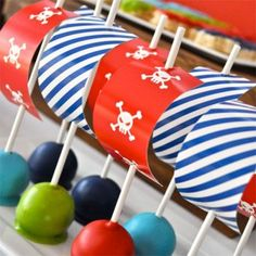 Gorgeous cake pops, the simple colours make for awesome party theming...