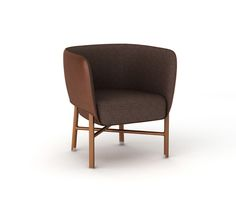 """""""Cabriolet"""" chair Hermes """"cabriolet"""" chair with solid Canaletto walnut wood base and brushed inox plated finishings. Covered with chocolate taurillon essential leather. Padded seat and back covered with taurillon essential leather and ebony """"Cravache"""" fabric. L27"""" x H28.5"""" x W25.4"""" <br />Small and comfortable occasional armchair skillfully enhanced with piping.<br />"""