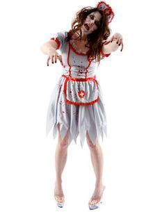 This Zombie Nurse costume includes dress with apron hat and garter Medium Dress Size 10 - 12 Bust 35 - 37 Waist 27 - 29 Hips 37 - 39 Large Dress Size