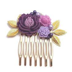 Purple Hair Comb-Wedding Comb-Bridal Comb-Bridesmaid