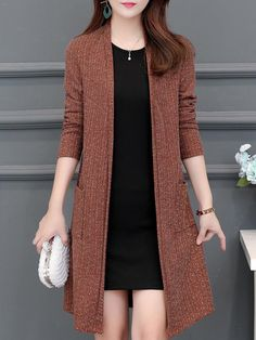 Elegant Long Sleeve Knit Cardigan Shop the latest women's clothes and keep your style game strong with the freshest threads landing daily. Stylish Dresses, Trendy Outfits, Fashion Dresses, Mode Adidas, Mode Kimono, Cardigan Fashion, Knit Cardigan, Clothes For Women, Winter Fashion