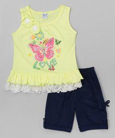 Look what I found on #zulily! Neon Yellow 'Love' Top & Bermuda Shorts - Toddler & Girls #zulilyfinds