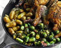 Cast-Iron Skillet Roasted Game Hen; I tried this recipe with both Rock Cornish game hens and with whole chicken; both scrumptious!! Roasted Cornish Hen, Cornish Hen Recipe, Cornish Game Hen, Cornish Hens, Fingerling Potatoes, Chicken Potatoes, Baby Potatoes, Roasted Potatoes, Cast Iron Cookware