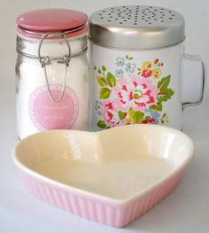 Pink heart creme brulee dish / floral flour shaker