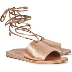 Ancient Greek Sandals Christina Rose Gold Leather Sandals - Size 8 ($180) ❤ liked on Polyvore featuring shoes, sandals, real leather shoes, ancient greek sandals, open toe leather sandals, tie shoes and leather footwear