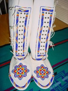 Ladies Native American beaded southern style leggings finished in 13/0 cut glass beads. SOLD
