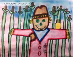 Watercolor Marker/Chalk Pastel Scarecrows - grade 3/4