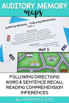 Auditory Processing and Memory Activities Auditory Processing Activities, Auditory Processing Disorder, Speech Therapy Activities, Play Therapy, Literacy Games, Language Activities, Speech Language Pathology, Speech And Language, Following Directions Activities