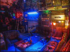Neon room. Cyberpunk & Neon Lights