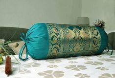 Living Room Decor Neck Roll Pillow Handmade Green Brocade Work Silk Bolster Cushion Cover 30 x 15 Inches - Bolster Pillow Cushion Cover - Cool Decorative Pillows Bolster Covers, Bolster Cushions, Bolster Pillow, Diy Pillows, Decorative Pillows, Pillow Covers, Cushion Cover Designs, Cushion Covers, Neck Roll Pillow