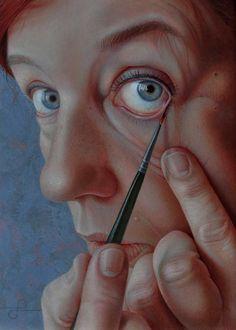 artchipel:  Jantina Peperkamp - Spiegeltje (self-portrait). Acrylic on wood panel, 15x21cm