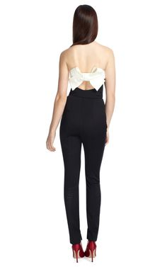 Strapless Jumpsuit w/ Back Bow Detail by Valentino