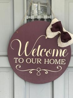 Welcome To Our Home Front Door Wreath Alternative-Round Door Hanger-Farmhouse Style-Welcome Sign-Welcome Door Wreath-Welcome To My Home by SweetandSassyBySuzi on Etsy https://www.etsy.com/listing/593389206/welcome-to-our-home-front-door-wreath