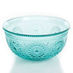 "The Pioneer Woman Adeline 9"" Turquoise Glass Serving Bowl - Walmart.com"
