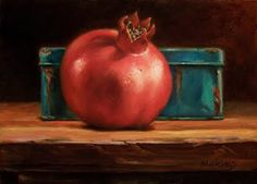 """Small Oil Paintings: Pomegranate Makeover- marilynmking.blogspot.com """"Pomegranate and Blue Tin"""" (revised)"""