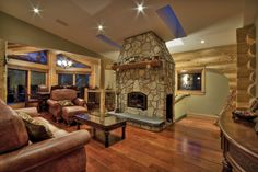 A beautiful log home with an RSF Opel 2 front and center in the open-concept living room Open Concept, Log Homes, Cabin, Living Room, Fireplaces, Beautiful, Home Decor, Timber Homes, Fireplace Set