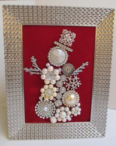 Jeweled Framed Jewelry Snowman Silver Pearl Vintage Red