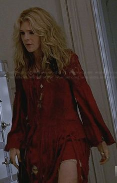 Misty's red fringed dress on American Horror Story.  Outfit Details: http://wornontv.net/33355/ #AmericanHorrorStory