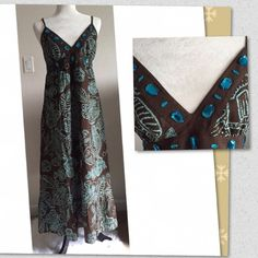 Beautiful jeweled maxi dress Beautiful brown maxi with a pretty turquoise design and pretty matching jewels around the top. Size M with ruched elastic back, adustable straps and a brown underlay. 100% cotton. 48in. long, chest 15in. across. Wore and dry cleaned 3x. Dresses Maxi