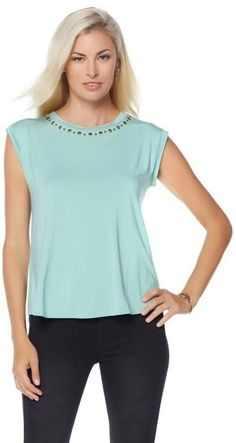 LaBellum Hillary Scott LaBellum by Hillary Scott Split Back Tee with Grommets
