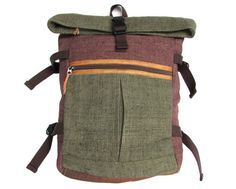 bb9ec33857a Hemp Backpack Organic Bag Ecofriendly Bag Daypack Rucksack Large Green Brown