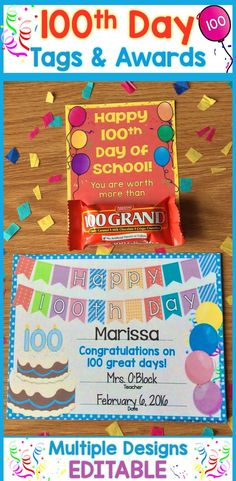 Easily create personalized & memorable awards, treat tags, & crowns for your 100th Day of School celebration. Simply customize the editable fields and print. https://www.teacherspayteachers.com/Product/100th-Day-of-School-Awards-Certificates-Crown-Tags-Bag-Toppers-Editable-2952741