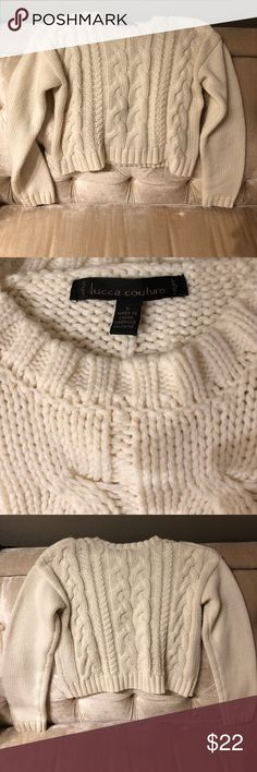 Urban Outfitters 'Lucca Couture' Women's Sweater Urban Outfitters 'Lucca Couture' Women's Sweater, L - Cropped with long sleeves... faint mark on lower front- winter white Urban Outfitters Sweaters