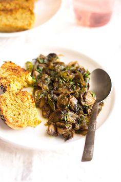 Mushroom Chilli Stir fry- Goan recipe - Added curry leaves, garlic, roasted cashews and grated coconut