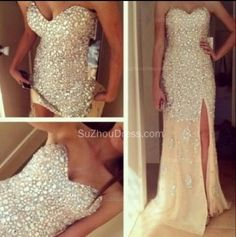 2015 Sexy Sweetheart Sequined Side Slit Sweep Train Mermaid Evening Gowns www.suzhoudress.com