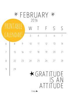 Februari 2016 - printable calendar | Elske | www.elskeleenstra.nl