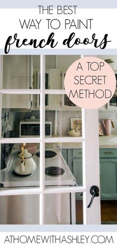 The Best Way to Paint French Doors the best way to paint french doors without tape or scraping. This top secret method works on Interior or exterior doors, windows, and kitchen cabinets. It'll work on doors in a living room, laundry rooms, a front entry o Paint Doors White, Painted Doors, How To Paint Doors, House Paint Exterior, Exterior Doors, Diy Exterior, Budget Home Decorating, Diy Home Decor, Decor Crafts