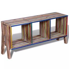 Vintage Retro TV Stand Cabinet with 3 Shelves Stackable Reclaimed Teak Handmade Colourful Low Sideboard, Rustic Sideboard, Wood Furniture, Living Room Furniture, Diy Man, Retro Tv Stand, Tv Stand Cabinet, Low Cabinet, Armoire Tv