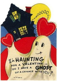 I seriously think that they just slapped some hearts on what is clearly a Halloween card. | 23 Bewitching Vintage Valentine's for Halloween Lovers