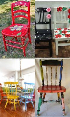 Hobilerim-begendiklerim  (cam ve ahşap boyama, örgü, keçe, tasarım): Sandalye geri dönüşüm