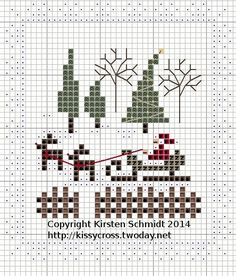 Cross Stitch Santa Sleigh and Reindeer Santa Cross Stitch, Mini Cross Stitch, Cross Stitch Needles, Cross Stitch Cards, Cross Stitch Samplers, Cross Stitching, Cross Stitch Embroidery, Cross Stitch Christmas Ornaments, Christmas Cross