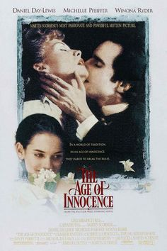 """""""The Age of Innoncence"""" in 1993 directed by Martin Scorsese (New York 1942). American film adaptation of Edith Wharton's 1920 novel of the same name. Tale of 19th century New York high society in which a young lawyer falls in love with a woman separated from her husband, while he is engaged to the woman's cousin. The film won the Academy Award for Best Costume Design, and was nominated for Best Actress Supporting Role (Ryder), Best Adapted Screenplay, Best Original Score and Best Art…"""