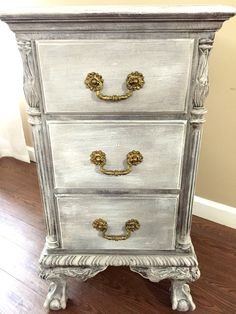 Gorgeous Antique Chippendale Nightstand with a distressed finish and clear wax.  Painted in Annie Sloan's chalk paint   Delicate carved cabriole legs with ball & claw feet. Great storage with 3 drawers. Dovetailed Drawer Ball and Claw Feet Original hardware painted in General Finishes  Burnished Pearl.