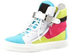 Giuseppe Zanotti High-Top Buckled Colorblock Sneaker on shopstyle.com