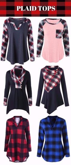 plaid tops for women