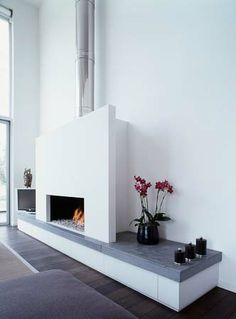 White modern fireplace