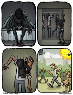 Although depression affects millions of people every year, it's often difficult for someone with the illness to describe what daily life is like to someone without it. The depression comics from Optipess, though — a name which is a portmanteau of… Depression Quotes, Black Dog Depression, Battling Depression, How I Feel, Mental Illness, Sad Quotes, Quotes Inspirational, Being Happy, Jokes