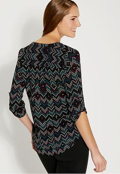 the perfect blouse in patterned chevron print - maurices.com
