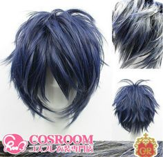 newfashioned Blue and black mixed color short Green of the demons cosplay wig (this is cool)